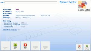 System Berberis ERP CRM BPM - panel czytnika w hali produkcyjnej