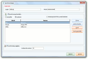 System Berberis ERP CRM BPM - formatka konfiguracji synchronizacji danych